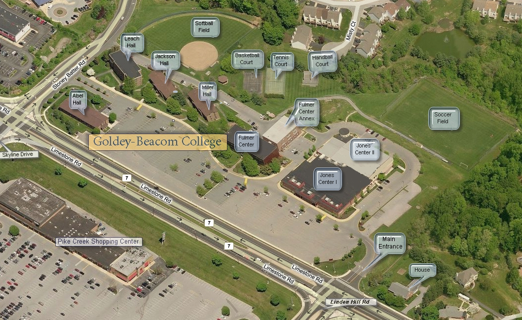 Jackson College Campus Map.Campus Map Goldey Beacom College Acalog Acms